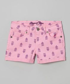 Loving this Pink & Purple Owl Shorts - Girls on #zulily! #zulilyfinds