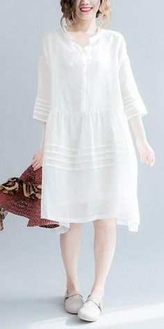 76d146c24ae White Casual Big Hem Linen Summer Shirt Dresses Women Clothing Q3108