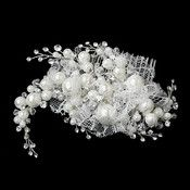 Silver Plated Bridal Comb 9658 of Rhinestone Leafs Pearls and Diamond White Veiling