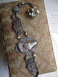 Silver Souvenir of France Repurposed Bracelet
