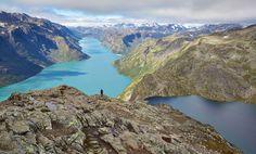 Picture of a hiker on the Besseggen Ridge walk, Norway