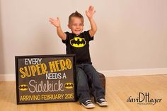 Super Hero Pregnancy Announcement Chalkboard by PersonalizedChalk, $10.00
