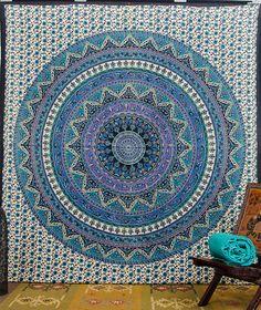 Mandala Tapestries Tapestry Wall Hanging Wall by CraftAuraHome