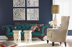 I love the asian inspiration!  10 Navy Rooms To Inspire You To Pick Up The Paintbrush (PHOTOS)