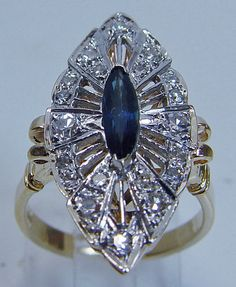 Vintage Marquise 14K Gold Sapphire  Diamond Ring
