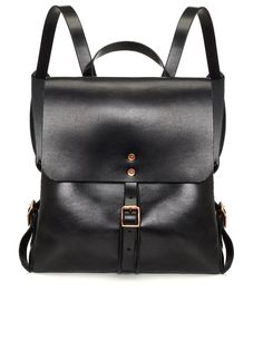 Black Leather Medium Backpack | Alfie Douglas | Avenue32