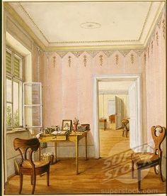 Interior of house in Biedermeier style, Vienna, Austria, 19th century watercolour