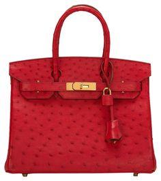 44f814751c18 Herms Rouge Vif Ostrich Birkin 30cm Gold Hardware Tote Bag. Get one of the  hottest