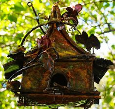 Copper Fairy Bird House by mikelange3 on Etsy https://www.etsy.com/listing/65499961/copper-fairy-bird-house