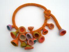 Liquid Sunset , Necklace. Glass seed beads, merino wool, crocheted.