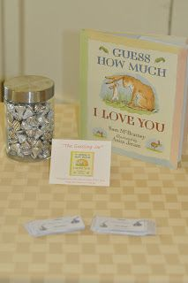 Book Shower - Guess how many hugs and kisses in jar with book Guess How Much I Love You
