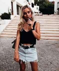 denim skirt outfit, summer outfit, spring outfit, festival outfit, coachella outfit, music festival, denim skirt, simple summer outfits, minimal summer outfits