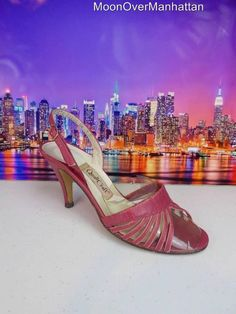 Womens shoes VTG QUALICRAFT 50's 60's mauve leather ITALY Mad Men heels sz 7 B M