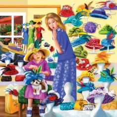 Image of product SunsOut 58307 - Thompson: Rosie's Hat Shop - 500 pieces square jigsaw puzzle