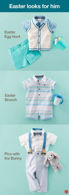 It's your little boys first Easter—celebrate in high style. Dress your baby boy in the cutest Easter looks from Baby Cat & Jack. You'll find outfit sets that will take you from brunch to pictures with the bunny to the egg hunt with ease. Check out sweet shorts sets complete with a sweater vest, one-piece rompers and dapper duds (pants, button-down shirt, bow-tie and suspenders… can you even handle it?). Give him his own basket and let the search for eggs begin!