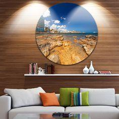 Designart 'Paradise Beach in Ibiza Island' Seashore Photo Round Metal Wall Art