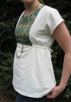 Diy Tunic Top  I love this idea for all those tees I have with ridiculously low necklines. :)