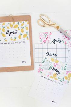 Calendario gratuito 2016, calendario para imprimir, calendario bonito 2016.