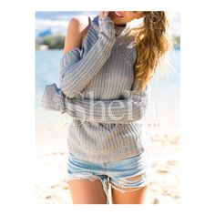 SheIn(sheinside) Grey Long Sleeve Off The Shoulder Sweater (60.730 COP) ❤ liked on Polyvore featuring tops, sweaters, grey, long sleeve sweaters, loose turtleneck sweater, gray sweater, gray turtleneck sweater and grey pullover sweater