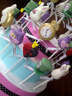 Mad Hatter cake pops on stand