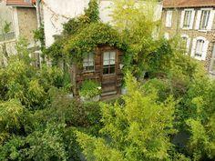 Une+cabane+végétalisée+-+Carnet+de+travail+d'un+jardinier+paysagiste Living Roofs, Atrium, Growing Plants, Garden Inspiration, Country Roads, House Styles, Recherche Google, Home, Bohemian