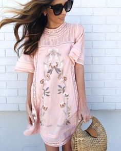 "ffd183c9e Alyson Haley on Instagram  ""The prettiest pink embroidered dress for   Spring is right here! Also obsessed with this straw bag 💗 My lip color is  linked and ..."