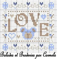 Love - Carmela Cross Stitch For Kids, Cross Stitch Boards, Just Cross Stitch, Cross Stitch Heart, Cross Stitch Alphabet, Cross Stitch Samplers, Cross Stitching, Cross Stitch Embroidery, Cross Stitch Patterns