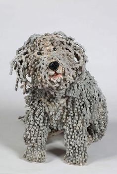 Realistic Dog Sculptures Made Out Of Bicycle Chains