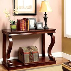 Furniture of America Prozy Classic Cherry Console Table - Overstock™ Shopping - Great Deals on Coffee, Sofa & End Tables Sofa End Tables, Entryway Tables, Entryway Console, Entryway Furniture, Entryway Decor, Foyer Decorating, Furniture Deals, Quality Furniture, Home Decor Ideas