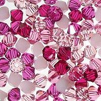 Swarovski Crystal, 4mm Bicone, Blushing Pink Mix