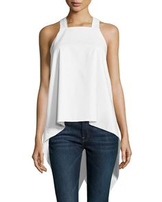 TA9WT F.T.B by Fade to Blue Square-Neck Waterfall-Back Tank, White
