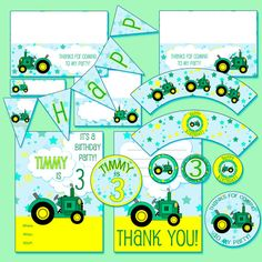 56 pc John Deere Birthday Party by TheDigitalChick on Etsy, $9.95