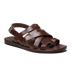 New Men's 52626 Leather Roman Gladiator Criss Cross Sling Back Sandals , Brown, 7