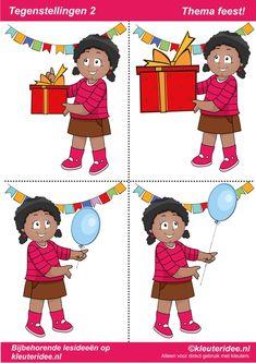 Tegenstellingen deel 2, thema feest voor kleuters, juf Petra van kleuteridee, bij behorende les op de website, te gebruiken bij kinderboekenweek 2014,   preschool opposites, free printable
