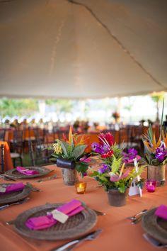 orange and purple table decor, tropical flower arrangement, elegant rehersal dinner, weddings costa rica