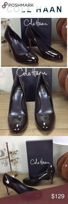 NWT Cole Haan Brown Patent Leather Round Toe Heels New with tags chocolate brown patent leather round toe Cole Haan heels with Nike Air technology for amazing comfort.  In excellent new condition with no visible scratches or marks.  Comes with original box. Thanks for your interest!  Please checkout the rest of my closet. Cole Haan Shoes Heels