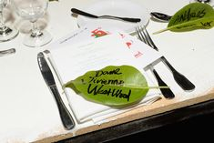 At the Art of Elysium Heaven Gala as part of Golden Globes weekend in Los Angeles in January, names simply scrawled on natural green leaves marked guests' seats.  Photo: Michael Kovac/Getty Images for Art of Elysium