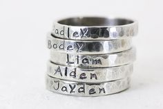 Stackable Rings - Stacking Rings -Handmade Personalized Rings - Sterling Silver - Hand Stamped Jewelry - Mom Jewelry - Jewelry Trends