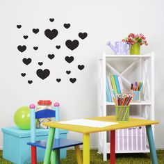 Heart Magnetic Decals #magnormous #kidsbedroomideas Kids Bedroom, Decals, Silhouettes, Table, Sketch, Furniture, Heart, Home Decor, Starting Over