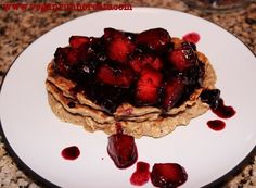 Oatmeal-Banana Pancakes with Quick Blueberry-Peach Compote