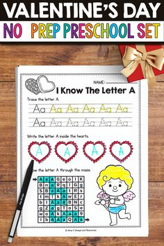 Are you looking for some fun No Prep Valentine's Day Worksheets and activities to use in the classroom with your preschool students? This set includes a fun and engaging collection of 122 worksheets. From tracing and cutting lines, to practicing the alphabet letters, numbers, sight words, shapes and colors, this set is perfect for every level. #preschool #valentinesday