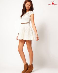 White lace dress with belt