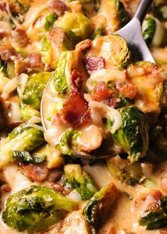 Creamy Bacon Brussels Sprouts with Mozzarella are so irresistible. What's even better is that it takes less than 30 minutes to make this flavorful dish! Bacon and Brussels Sprouts are such a classic ingredient combination! Creamy Brussel Sprouts, Grilled Brussel Sprouts, Sprouts With Bacon, Bacon Recipes, Vegetable Recipes, Cooking Recipes, Healthy Recipes, Cooking Ideas, Brussels Sprouts