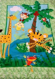 Fisher Price Baby Blanket Green Jungle Animals Rainforest Crib Quilt Frog Parrot | eBay