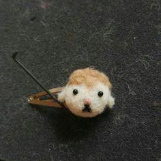 felted sheep hair clip