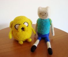 Needle felted Finn and Jake- Aventure Time by Karenpazfieltro