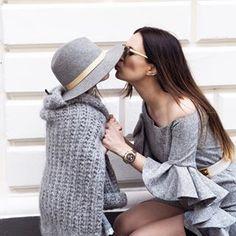Lena Terlutter,Shop the Look,mini me, fashion, fashionista, love, sweet, kissing , like mummy like daughter , all grey, ruffled sleeves, sleeves, street style