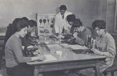 """""""Biology class, Kabul University.""""– In the 1950s and '60s, women were able to pursue professional careers in fields such as medicine."""