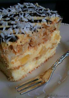Ciasto Ananasowo-Kokosowe - Przepis - Słodka Strona Polish Desserts, Cookie Desserts, Baking Recipes, Cake Recipes, Dessert Recipes, Sandwich Cake, Sandwiches, My Favorite Food, Favorite Recipes