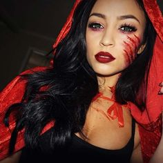 Scary Little Red Riding Hood Halloween Makeup and Costume Idea